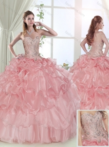 Modest Beaded and Ruffled Layered Baby Pink Sweet 15 Dress with Brush Train