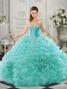 Pretty Really Puffy Aqua Blue 15 Quinceanera Dress with Beading and Ruffles