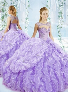 Puffy Skirt Bubble and Beaded Detachable 15 Quinceanera Dress in Lavender