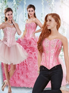 Rolling Flowers Beaded Bodice Detachable 15 Quinceanera Dresses in Rose Pink