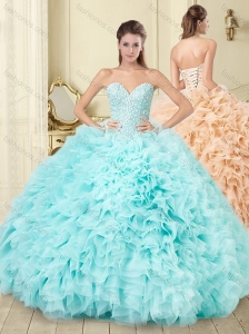 Beaded Beaded and Ruffled Aque Blue Quinceanera Gown in Tulle