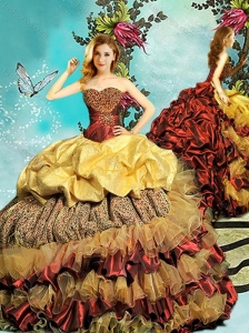Best Bubble and Beaded Chapel Train 15 Quinceanera Dress in Wine Red and Gold
