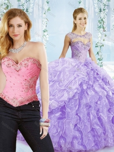 Big Puffy Bubble and Beaded Lavender Detachable Quinceanera Skirts in Organza