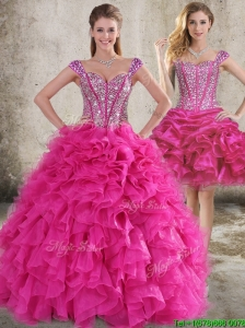 Classical Ruffled and Beaded Bodice Detachable Quinceanera Skirts in Hot Pink