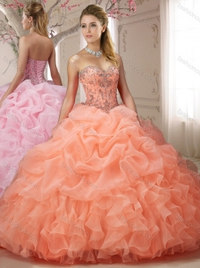 Customized Bubble and Beasded Orange Red Sweet Sixteen Dress with Sweep Train