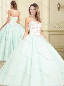 Discount Apple Green Big Puffy Quinceanera Dress with Beading and Applique