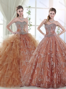 Discount Applique and Ruffled Detachable Quinceanera Dress with Beaded Bodice
