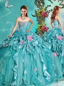 Discount Beaded and Handcrafted Flowers Quinceanera Dress with Brush Train