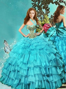 Discount Halter Top Teal Quinceanera Dress with Ruffled Layers and Beading