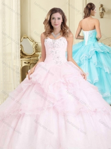 Discount Organza Baby Pink Quinceanera Dress with Appliques and Ruffles