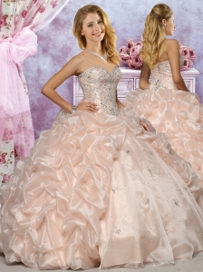 Discount Organza Champagne Quinceanera Dress with Beaded Bodice and Bubbles