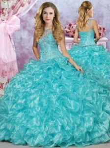 Discount See Through Scoop Beaded and Ruffled Quinceanera Gown in Aqua Blue