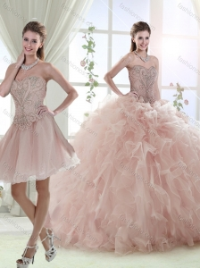 Elegant Beaded and Ruffled Baby Pink Detachable Quinceanera Skirts with Sweep Train