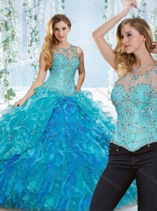 Elegant See Through Beaded and Ruffled Detachable Quinceanera Skirts in Blue