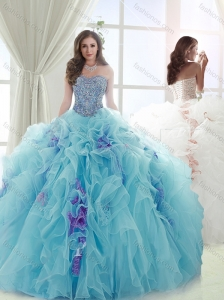 Exquisite Beaded and Ruffled Light Blue and Lavender Detachable Quinceanera Skirts
