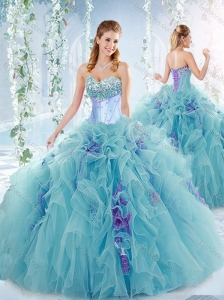 Exquisite Beaded Bust and Ruffled Detachable Quinceanera Skirts in Aqua Blue