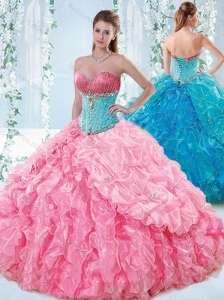 Exquisite Rose Pink Detachable Quinceanera Skirts with Beading and Ruffles
