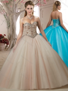 Fashion Trend Beaded Bodice Champagne Sweet Fifteen Dress with Sweep Train