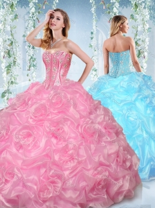 Fashionable Beaded and Bubble Organza Detachable Quinceanera Skirts in Rose Pink