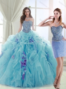 Latest Brush Train Detachable Quinceanera Skirts in Light Blue and Lavender