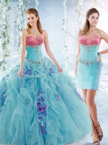 Latest Ruffled and Beaded Detachable Quinceanera Skirts in Aquamarine