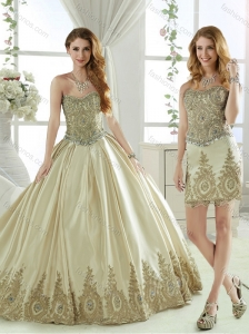 Latest Taffeta Beaded and Applique Champagne Detachable Quinceanera Skirts with Removable Skirt