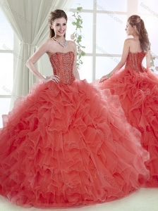 Lovely Brush Train Beaded and Ruffled Coral Red Detachable Quinceanera Skirts with Removable Shirts