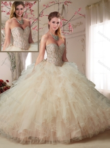 Modern Beaded Bodice and Ruffled Champagne Quinceanera Dress in Organza