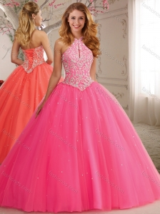 Modest Cutout Bust Beaded Decorated High Neck Hot Pink Quinceanera Dress