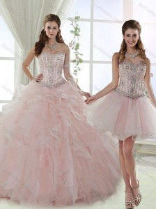 Modest Visible Boning Detachable Quinceanera Skirts with Beading and Ruffles