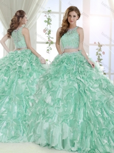 Most Popular Beaded and Laced Bodice Ruffled Detachable Quinceanera Skirts in Apple Green