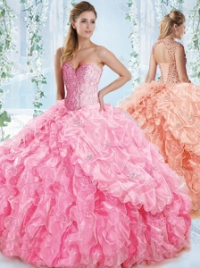 New Style Organze Beaded Rose Detachable Quinceanera Skirts with Detachable Straps