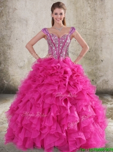 Perfect Ruffled and Beaded Bodice Straps Hot Pink Sweet 16 Quinceanera Dress
