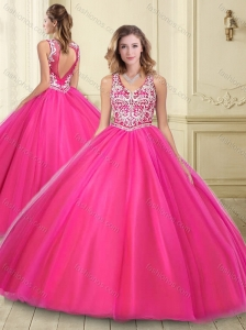 Popular Big Puffy See Through Hot Pink 15 Quinceanera Dress with Beading