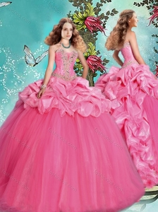 Popular Brush Train Beaded and Bubble 15 Quinceanera Dress in Rose Pink