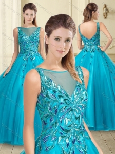 Popular See Through Tulle Bateau Sweet 16 Quinceanera Dress with Sequins