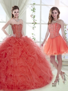 Pretty Big Puffy Brush Train Coral Red Detachable Quinceanera Skirts with Removable Shirts