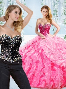 Puffy Skirt Visible Boning Beaded Detachable Quinceanera Skirts in Rose Pink
