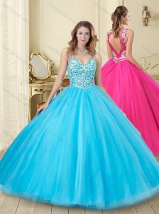 See Through Beaded V Neck Really Puffy Sweet 16 Dress with Backless