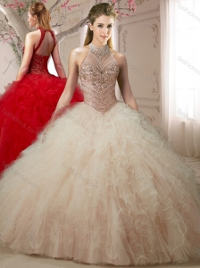 See Through Halter Top Champagne Open Back Quinceanera Dresses with Beading and Ruffles
