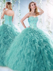 Unique Beaded and Ruffled Aquamarine Detachable Quinceanera Dress with Brush Train