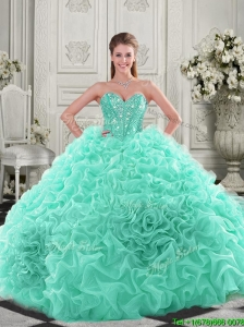 Unique Puffy Skirt Visible Boning Apple Green Quinceanera Dresses with Beading and Ruffles