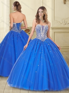 Visible Boning Deep V Neck Beaded Bodice Quinceanera Dress in Blue