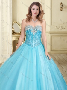 710296d3dd0 Visible Boning Really Puffy Beaded 15 Quinceanera Dress in Aque Blue