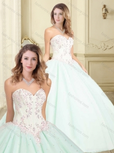 Beautiful Beaded and Applique Sweetheart Perfect Quinceanera Dresses in Apple Green