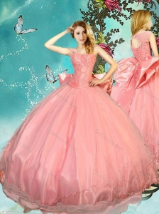 Cheap Bowknot Brush Train Watermelon Perfect Quinceanera Dress with Cap Sleeves