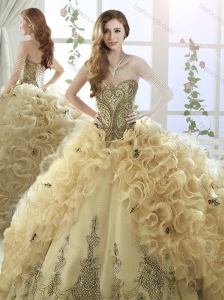 Cheap Organza Beaded and Ruffled Perfect Quinceanera Dresses with Brush Train