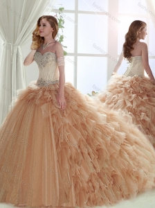 Classical Brush Train Beaded Tulle Sweet Fifteen Dress in Champagne