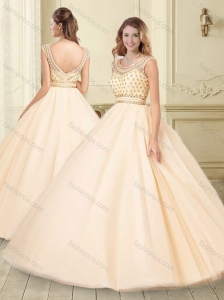 Classical Scoop Big Puffy Champagne Perfect Quinceanera Dress with Beading