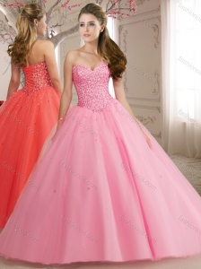 Discount Sweetheart Tulle Beaded Bodice Perfect Quinceanera Dress in Rose Pink